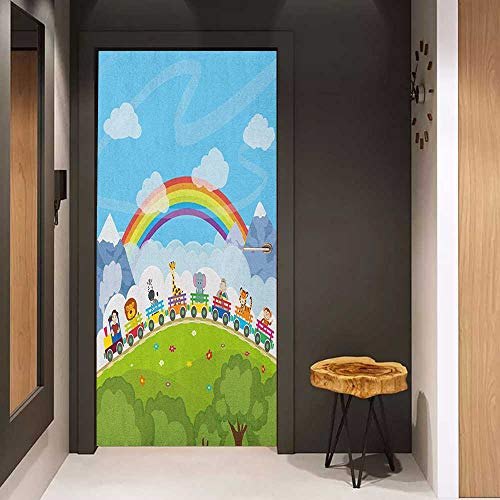 Onefzc Soliciting Sticker for Door Nursery Cartoon Railway Train with Various Animals and a Rainbow Mountains Clouds Trees Mural Wallpaper W23.6 x H78.7 Multicolor