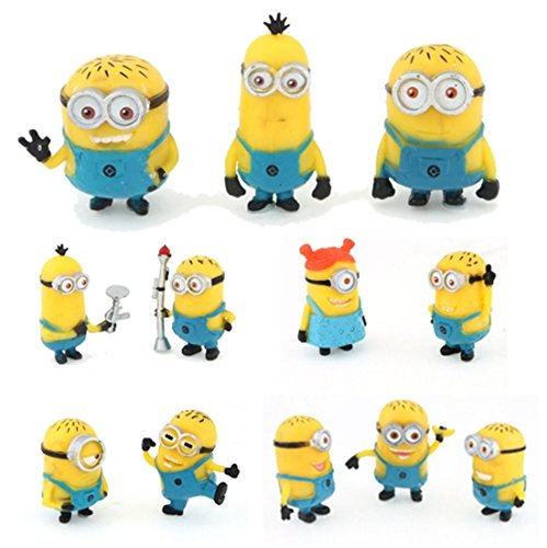 NEW 12Pcs Cute Despicable Me 2 Minions Movie Character Figures Doll Toy Gift Set (Cute Halloween Wallpaper Iphone)