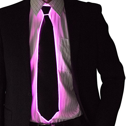 Masquerade Outfits (Neon Nightlife Light Up Neck Tie for Men, Pink)