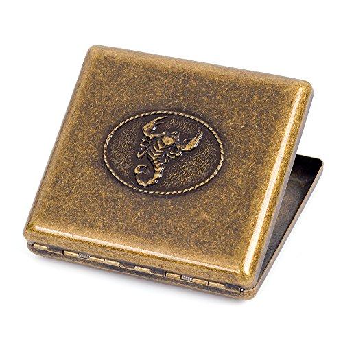 (Bronzy Pure Copper Metal Cigarette Case Holder Holds 20 Cigarettes (Scorpion))