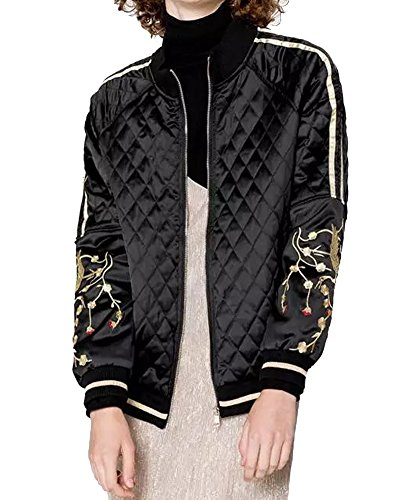 Eorish Women's Fashion Embroidered Quilted Lightweight Short Coat Bomber Jacket (Asian XL, Black)