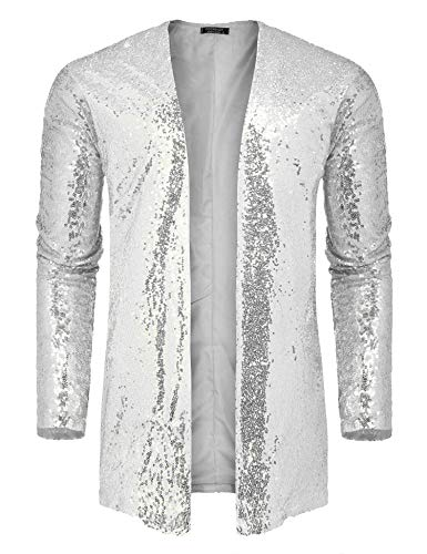 COOFANDY Men's Sequin Cardigan Party Nightclub Hip Hop Stylish Open Front Cape Cloak Grey