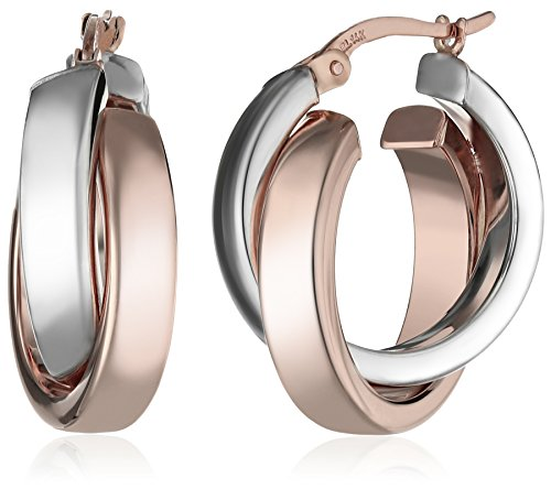 14k White and Rose Gold Two-Tone Satin and Polished Crossover Hoop Earrings