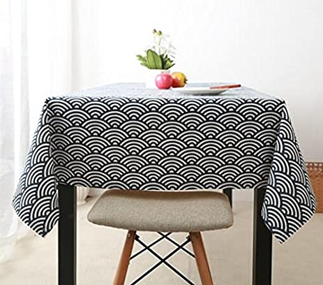 Elegant Japanese Style Wind Blue Jane Europe Table Cloth Japan Tradition Retro  Lattice Fresh Cloth Cotton