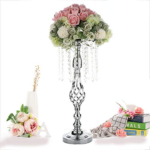Candle Holder With Acrylic Imitation Crystal| Candle Stand|20.5in Candlestick |Wedding Table Centerpiece|Metal Flower Vase Arrangement|Twist Wedding Flower Column Display for Wedding Party Birthday