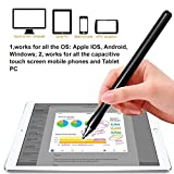 Stylus Pen, ASONRL Super Capacitive Stylus Fine Point Styluses with Extra 2PCS Replaceable Thin Point Disc Tips Universal for Tablet/iPad Mini/Smartphones All Touch Screen Devices-Black