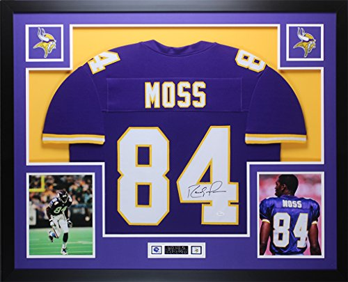 - Randy Moss Autographed Purple Vikings Jersey - Beautifully Matted and Framed - Hand Signed By Randy Moss and Certified Authentic by JSA COA - Includes Certificate of Authenticity