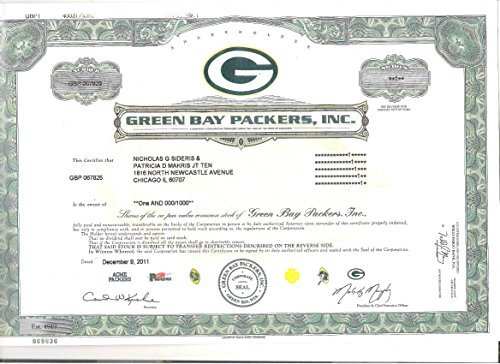 2011 Green Bay Packers Common Stock Stock Certificate Copy Rare in Great Shape!