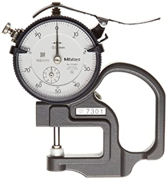 Mitutoyo Dial Thickness Gage, Flat Anvil, Metric