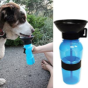 Vovotrade Portable Dog Travel Sport Water Bottle Outdoor Feed Drinking Bottle Pet Supply (Blue)