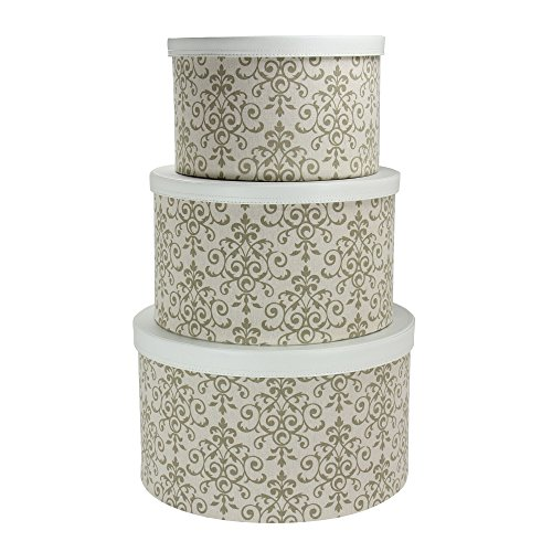 Storage Designer Box (Household Essentials 3-Piece Hat Box Set with Faux Leather Lids, Scroll Pattern)
