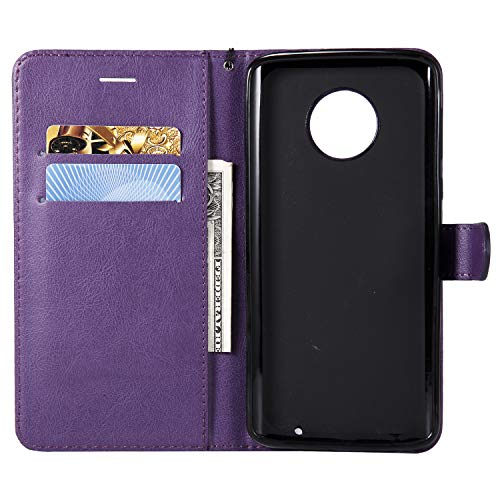 Moto G6 Plus Case, AIIYG DS Classic Pure Color [Kickstand Feature] Flip Folio Leather Wallet Case with ID and Credit Card Pockets for Moto G6 Plus Purple by AIIYG DS (Image #2)