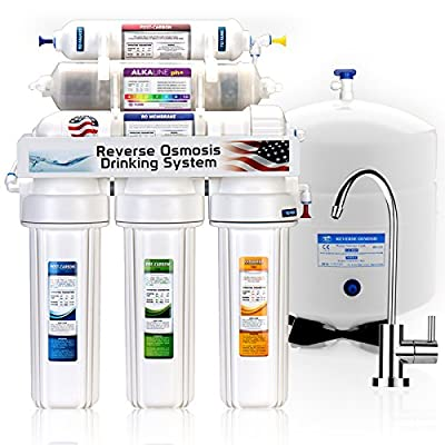 Express Water 8 Stage Alkaline Antioxidant Reverse Osmosis Home Drinking Water Filtration System MODERN faucet - ROALK5M