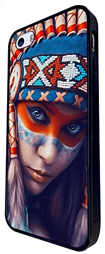 1549 - Cool Fun Trendy Red Indian Colourful Headrest Sexy Girl Design iphone SE - 2016 Coque Fashion Trend Case Coque Protection Cover plastique et métal - Noir