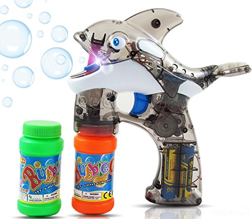 Haktoys Cartoon Fish Bubble Gun Shooter Light Up Blower Machine | Whale Bubble Blaster for Kids, Parties, Etc. - with LED Flashing Lights, Extra Refill Bottle, Sound-Free (Batteries Included)