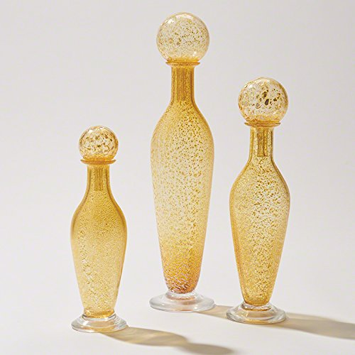 Set 3 Bubble Stopper Art Glass Bottles | Yellow Decorative Perfume Modern Tall by My Swanky Home