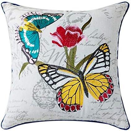 Image ofLLWYH Fundas de Cojín Decorativa Algodón Bordado Mariposa Salón Sofá Almohada Cuadrada 45 X 45Cm B