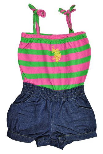 Polo Assn U.S Baby Girls Striped Jersey and Denim Romper
