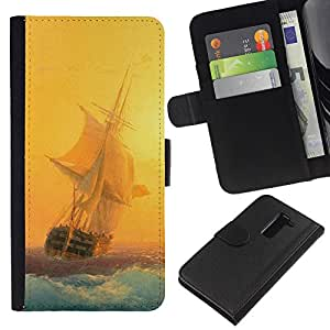 KLONGSHOP // Tirón de la caja Cartera de cuero con ranuras para tarjetas - Pintura del velero Sunset Amanecer Océano Mar - LG G2 D800 //