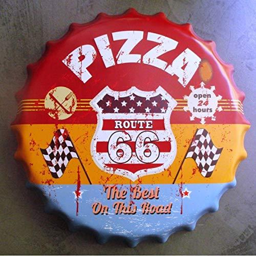 hotrodspirit - plaque capsule pizza route 66 40cm tole deco us pizzeria
