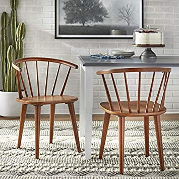 Amazon Com Target Marketing Systems Florence Mid Century Modern Barrel Back Dining Chairs 2 Piece Walnut Chairs