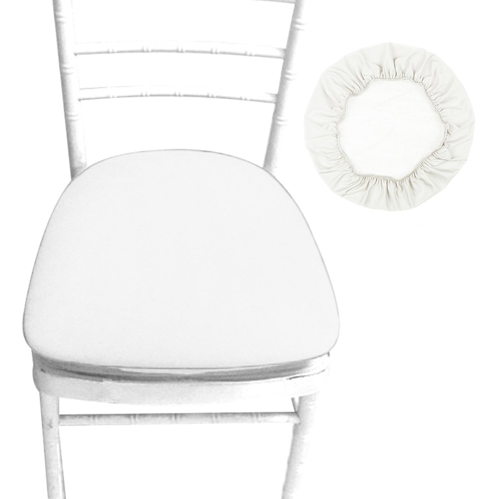 Sundlight Chair Seat Covers, Removable Elastic Stretch Polyester Stool Chairs Covers Dust-proof Round Slipcover for Dining Room Patio Office Chair,Bar Stools (6PCS, Beige)