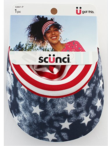 - Scunci Patriotic American Hair Visor Cap (Faded Stars & Stripes)