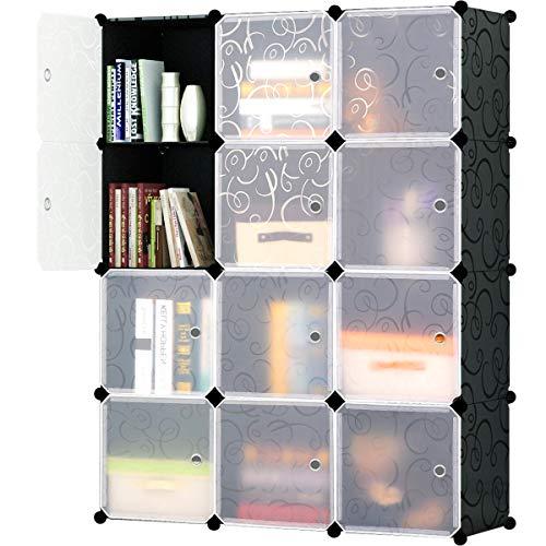 ge Shelf Cube Shelving Bookcase Bookshelf Cubby Organizing Closet Toy Organizer Cabinet, Black with White Doors, 12 Cubes ()
