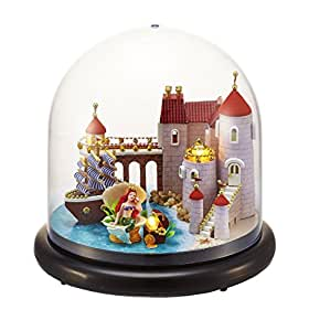 BEAUTY'S CASTLE DIY Mini Glass Ball Series Wooden Dollhouse LED Lights Miniature Assembly Furniture Kit 3D Puzzle Crafts Toy And Wooden Frame For Creative Kid Birthday Gifts (Sweet Mermaid)