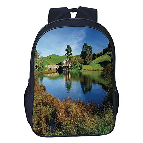 Hobbits Durable Double black backpack,Hobbit Land Village House by Lake with Stone Bridge Farmhouse Cottage New Zealand For classroom,11.8