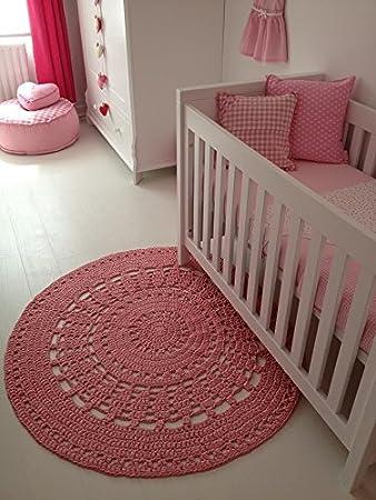 Rosa Kinderzimmer Hakelteppich Amazon De Baby