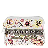 Burberry Women's Large Zip-Top Doodle Print Coated Canvas Pouch White