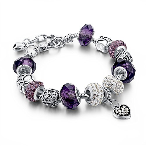 Long Way Silver Plated Snake Chain Charm Bracelets Bangles Purple Murano Glass & Crystal Beads Fit Bracelet for - Jewel Clasp