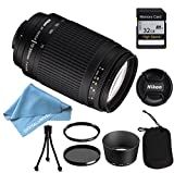 Nikon 70-300 mm f/4-5.6G Zoom Lens with Auto Focus for Nikon DSLR Cameras PLUS LENS CLEANING KIT AND TRIPOD AND 32GB MEMORY CARD