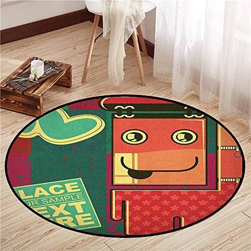 Living Room Round Mat,Funny,Cartoon Caricature Monster Figure on Grunge Backdrop with Hearts Humorous Cheerful,Children Crawling Bedroom Rug,3'7
