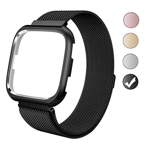 VEAQEE for Fitbit Versa Bands with Frame, Milanese Mesh Loop Stainless Steel Metal Replacement Wristband Bracelet Strap Magnetic Buckle Protective Case Bumper (Black, Small 5.3