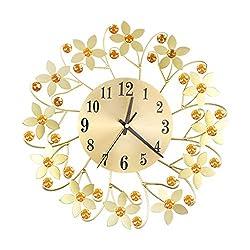 CZYCO Wrought Iron Diamond Fashion Wall Clock Bedroom Silent Metal Wall Clock Decor