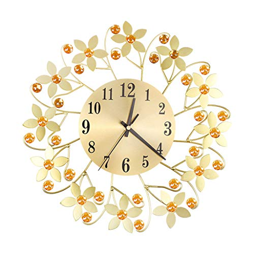 - FeiFei66 Wrought Lordliness Flower Set with Diamond Fashion Wall Clock Bedroom Silent Metal Wall Clock Decor (Gold)