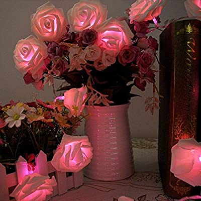 Leegoal Rose Flower Fairy String Lights 20LED Wedding Garden Party Christmas Decoration(White with pink light)