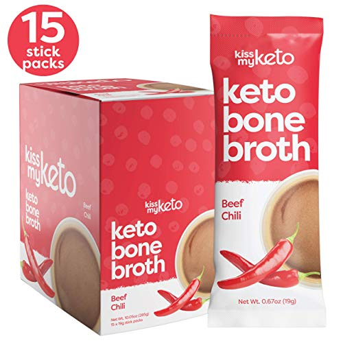 Kiss My Keto Beef Bone Broth Powder Travel Packets - Collagen Protein (9g) + MCT Oil (1.5g), 18 Amino Acids | Low Carb Beef Chili Flavor (15 Pack), Instant Bone Broth Soup - Single Servings