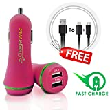 Pink USB Car Charger with FREE 2in1 Charging Cable - Portable Universal High Power Dual Port Output 4.8A/24W & Rapid Charge Lightning and Micro-USB Cable - Compatible with iPhone,Samsung,HTC,Garmin
