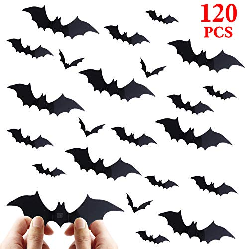 vanow Halloween Bat Decorations Party Supplies - 120 PCS 3D Bats Wall Decals, Waterproof Spooky Bats Craft Window Decor, Scary Bats Wall Stickers for Indoor Outdoor Halloween Wall -