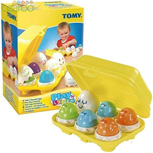 TOMY Play to Learn Hide 'n' Squeak Eggs - Baby Toddler