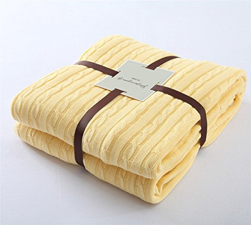 Reversible Stripe Scarf (Handmade Knitted Throw Blanket Natural Cotton Thickening Warm & Cozy Crocheted Multi Color Cover Quilt Suit for Teens and Children,Leisure time Apply on All Seasons(59''×79'', Yellow))