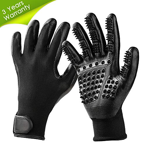 TWOPJ Pet Grooming Gloves, Pet Hair Removal Gentle Deshedding Brush Massage Tool with Adjustable Wrist Strap for Long and Short Hair Dogs, Cats, Horse -1 Pair (Black) from TWOPJ