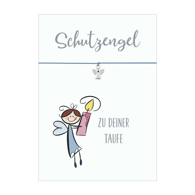 Ángel Bautismo pulsera con colgante ángel bañado en plata, banda elástica de textil en diferentes colores y hecho a tarjeta