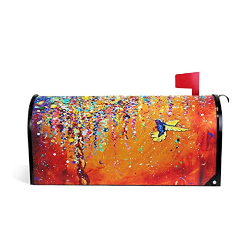 (WOOR Hummingbird Oil Painting Magnetic Mailbox Cover Standard Size-18