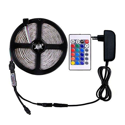 WenTop RGB Led Strip Kit, 5050 SMD Wasserdichte Led Streifen,5m RGB Led Leiste(30leds/m) mit 24key IR Fernbedienung für Home Decorative,Küche Schrank und TV-Hintergrundbeleuchtung