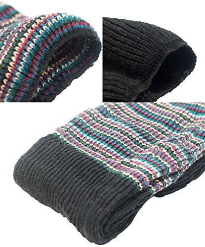 Junfan Women's Multicolor Over Knee Socks Knitted Warm Leg Warmer (Black) by Junfan (Image #2)