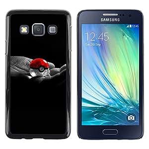 TopCaseStore / la caja del caucho duro de la cubierta de protección de la piel - Cool Ball Hand Poke Red White - Samsung Galaxy A3 SM-A300